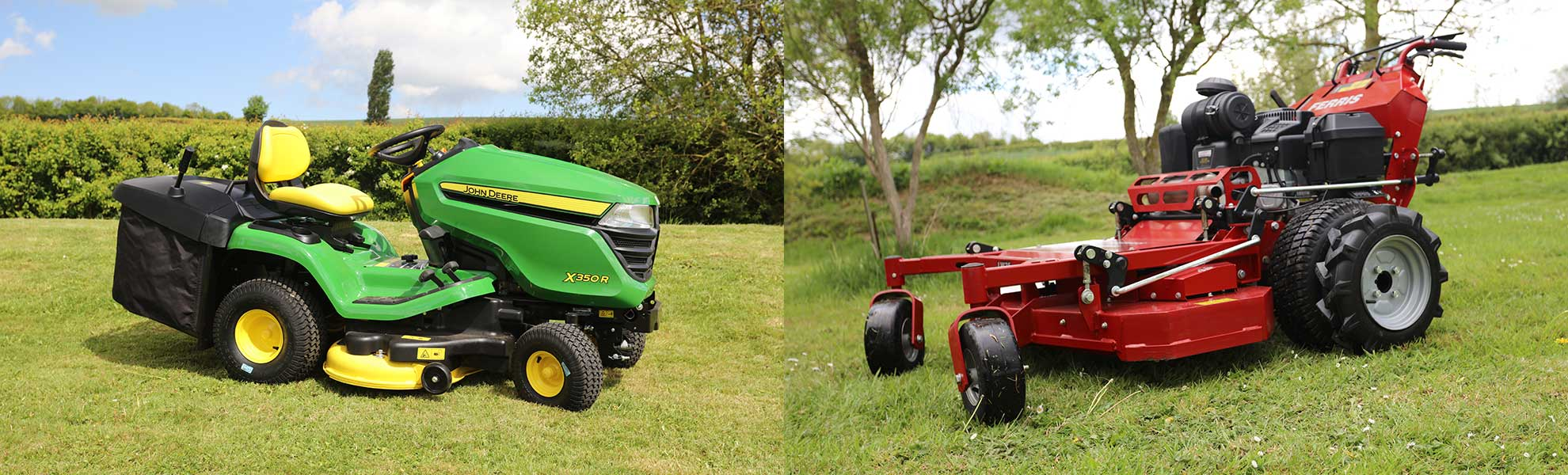 2 garden machines, showing range of mowers available from oxston Groundcare